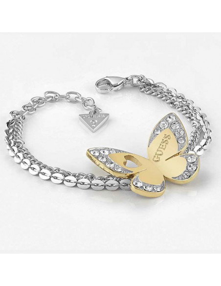 Pulsera de mujer Guess Love Butterfly con doble cadena plateada y mariposa dorada con cristales Swarovski® vista lateral