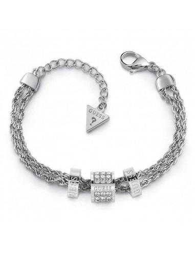 Pulsera para mujer Guess Love Knot UBB78058-S plateada con doble cadena de eslabones love en acero y tres charms con cristales.