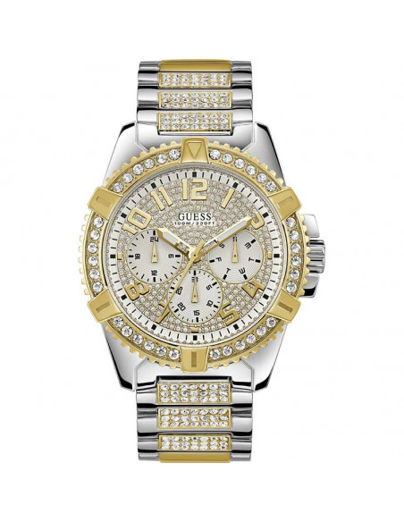 Reloj de hombre Guess Frontier W0799G4 plateado y dorado con pavé de cristales Swarovski®. Cuarzo, calendario, cristal mineral