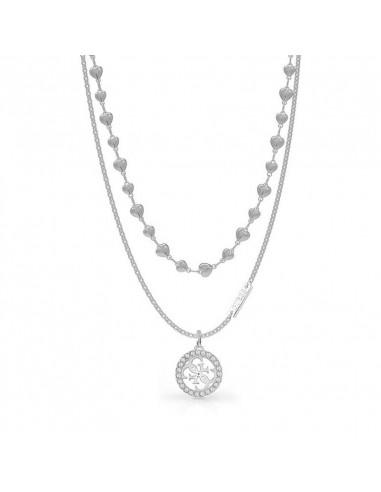 7f7cdd9887c7 Collar de doble cadena Guess Tropical Sun UBN78009 en acero plateado y  colgante redondo con cristales
