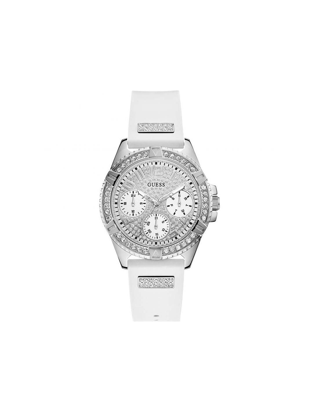 Plateado Y Reloj W1160l4 Guess Frontier Con Correa Blanca