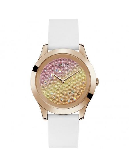 Reloj para mujer Guess Crush W1223L3 de cuarzo en color oro rosa, esfera muticolor y correa de silicona blanca.