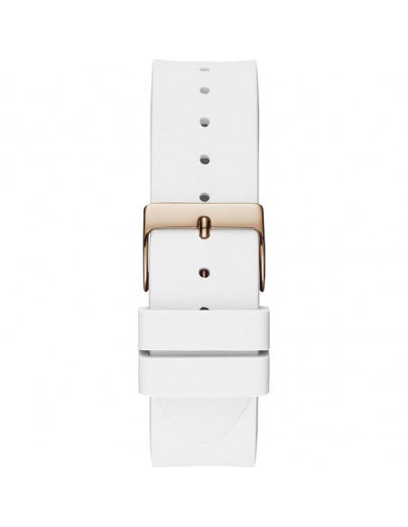 Reloj para mujer Guess Crush W1223L3 de cuarzo en color oro rosa, esfera muticolor y correa de silicona blanca correa y cierre