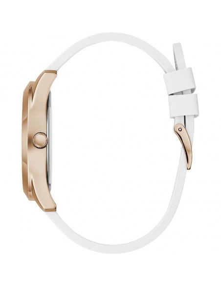 Reloj para mujer Guess Crush W1223L3 de cuarzo en color oro rosa, esfera muticolor y correa de silicona blanca. vista lateral