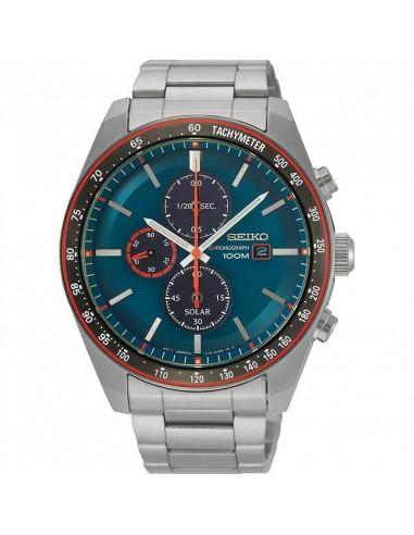 Reloj de hombre Seiko SSC717P1 Solar, cronógrafo, calendario con dial verde y cristal Hardlex. WR100