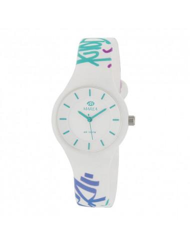 aac691ec6a7e Reloj Marea B35325 21 para mujer Sunrise en blanco con dibujos turquesa y  dial blanco