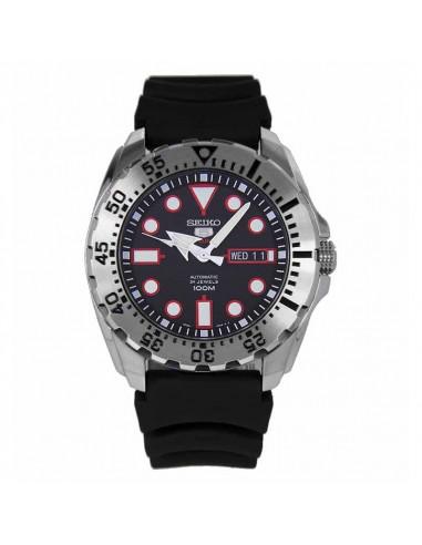 Reloj de hombre Seiko 5 SRP601K1 automático dial negro, cristal Hardlex y correa de caucho. WR100