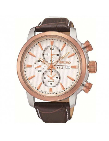 Reloj de hombre Seiko Neo Sports SNAF54P1, de cuarzo con dial blanco, cristal Hardlex y correa de piel marrón. WR100