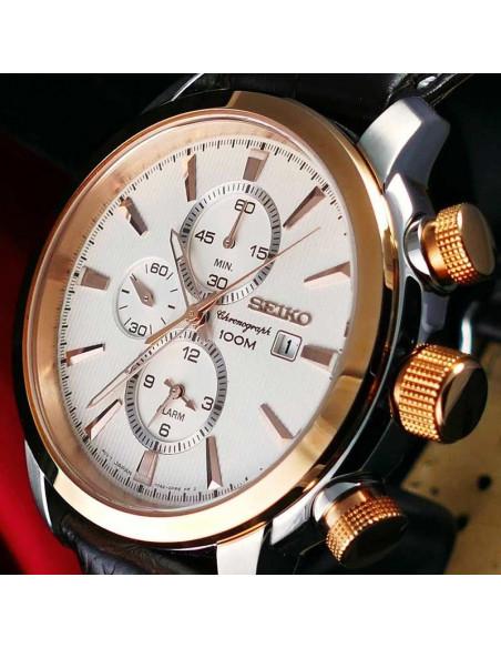 Reloj de hombre Seiko Neo Sports SNAF54P1, de cuarzo con dial blanco, cristal Hardlex y correa de piel marrón. WR100 lateral