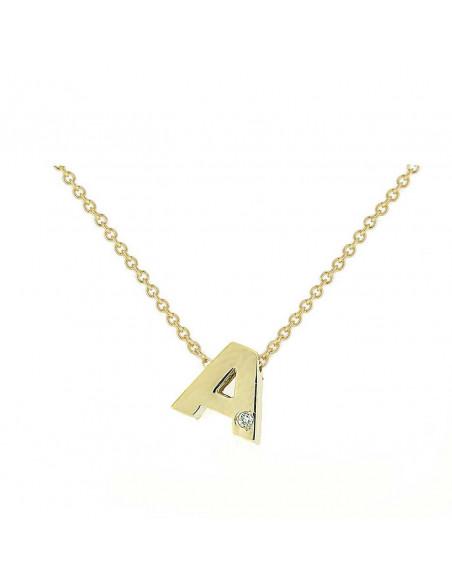 Collar con letra A en oro de 18k con diamante