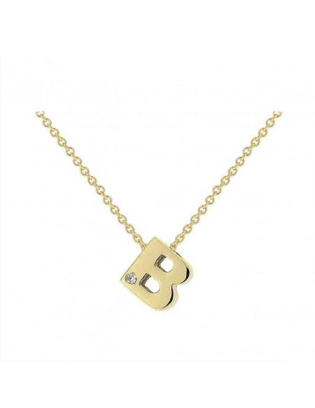 Collar con letra B en oro de 18k con diamante