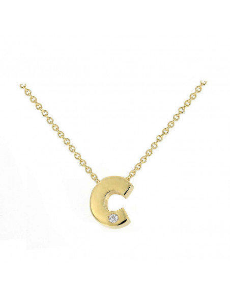 Collar con letra C en oro de 18k con diamante