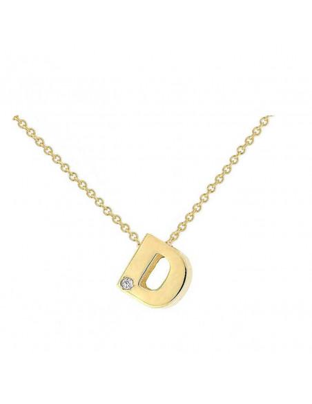 Collar con letra D en oro de 18k con diamante