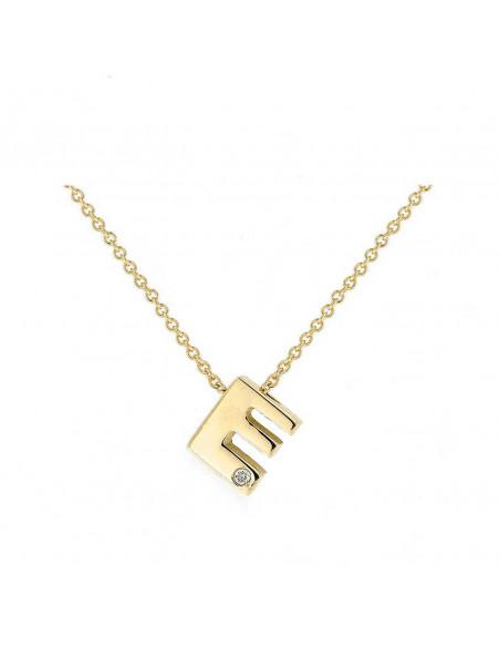 Collar con letra E en oro de 18k con diamante