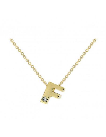Collar con letra F en oro de 18k con diamante
