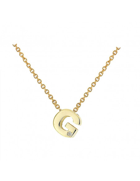 Collar con letra G en oro de 18k con diamante