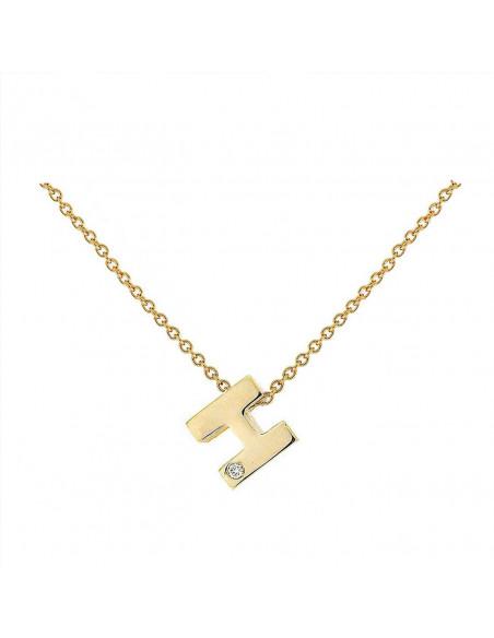 Collar con letra H en oro de 18k con diamante
