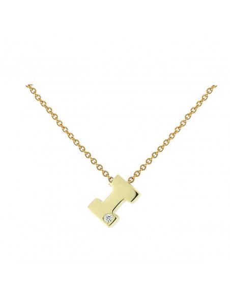 Collar con letra I en oro de 18k con diamante