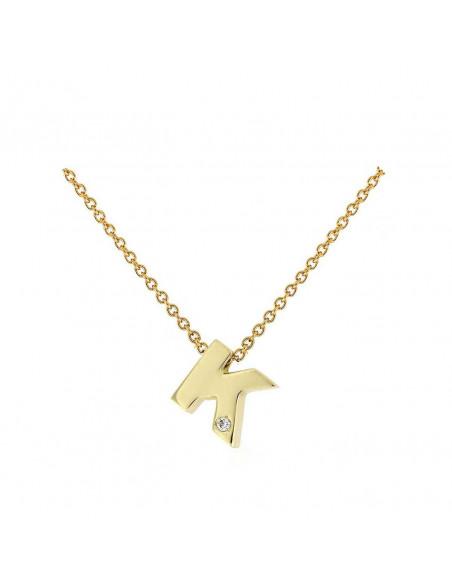 Collar con letra K en oro de 18k con diamante
