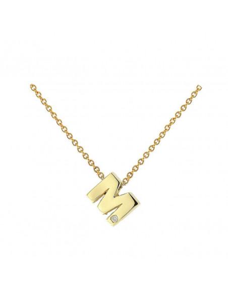 Collar con letra M en oro de 18k con diamante