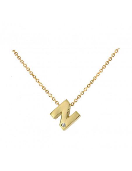 Collar con letra N en oro de 18k con diamante