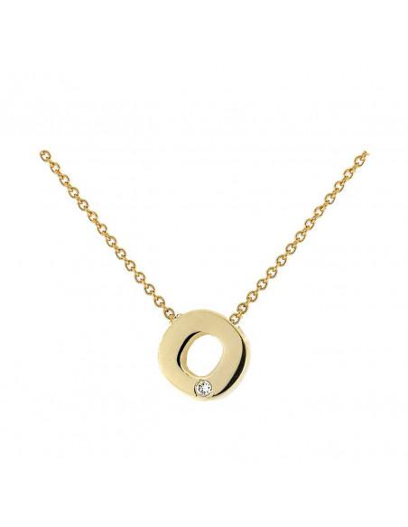 Collar con letra O en oro de 18k con diamante