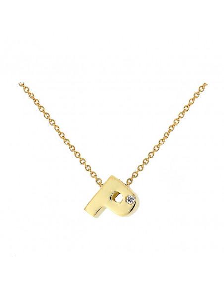 Collar con letra P en oro de 18k con diamante