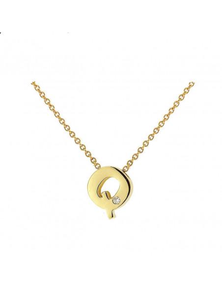 Collar con letra Q en oro de 18k con diamante