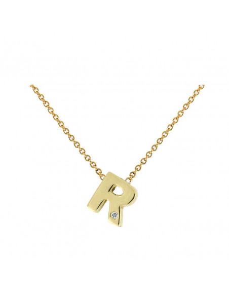 Collar con letra R en oro de 18k con diamante