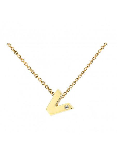 Collar con letra V en oro de 18k con diamante