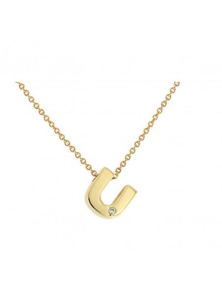 Collar con letra U en oro de 18k con diamante